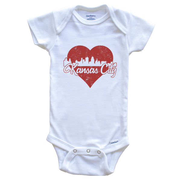 Retro Kansas City Missouri Skyline Red Heart Baby Onesie