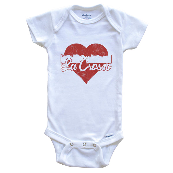 Retro La Crosse Wisconsin Skyline Red Heart Baby Onesie