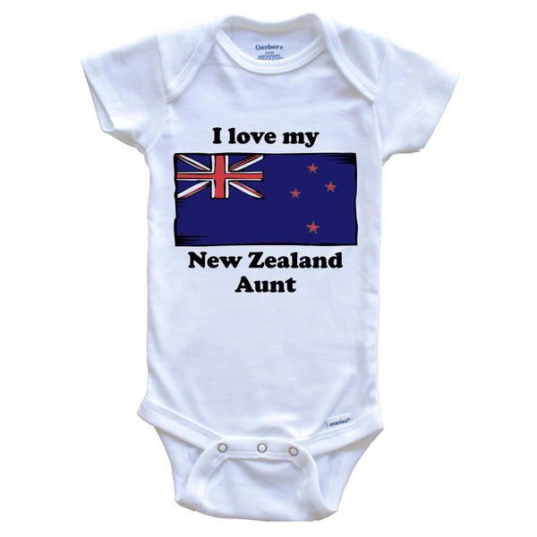 I Love My New Zealand Aunt New Zealand Flag Niece Nephew Baby Onesie