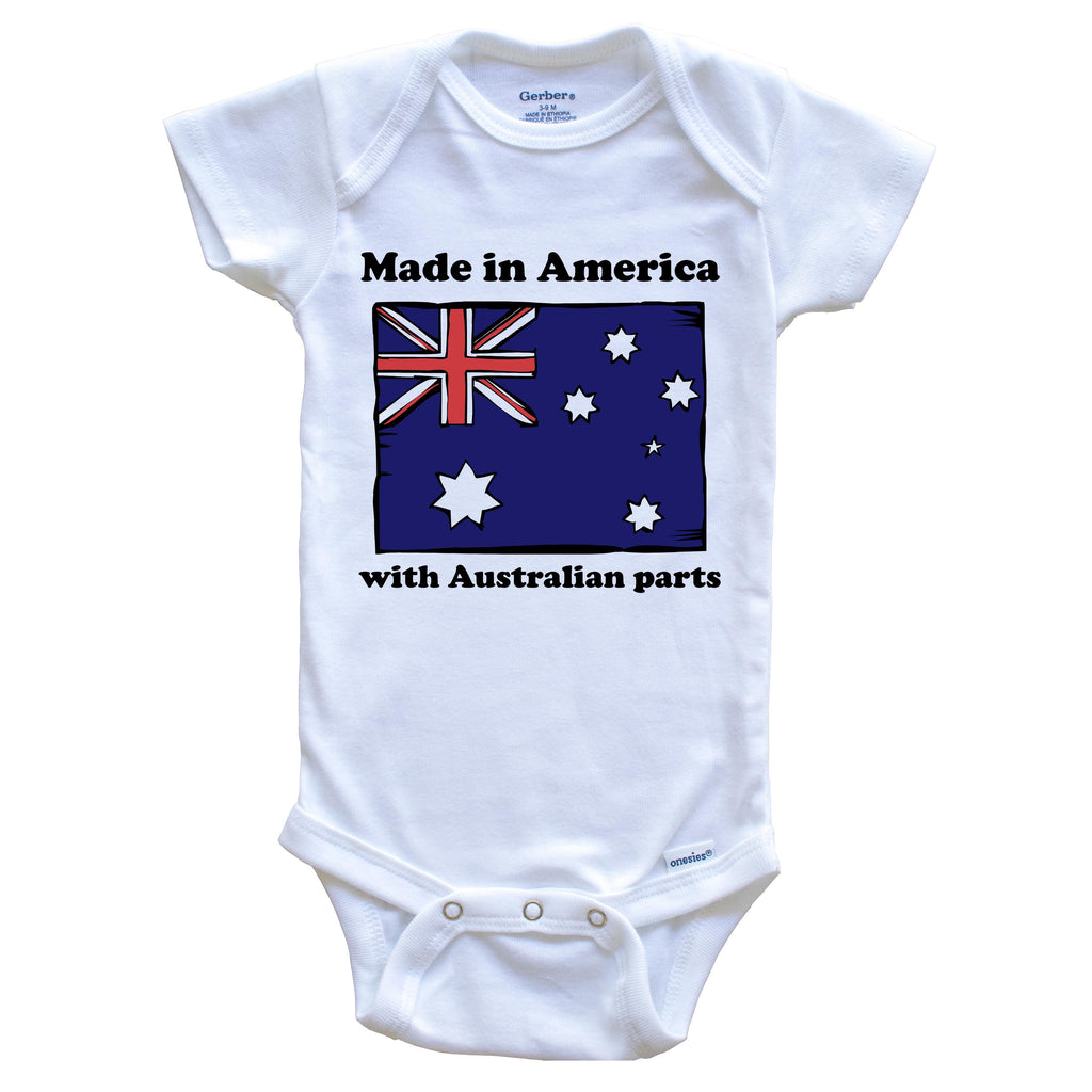 Made In America With Australian Parts Funny Australia Flag Baby Onesie