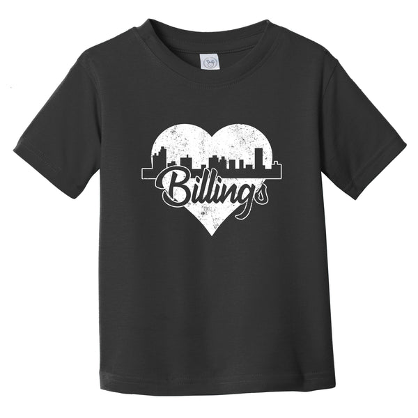 Retro Billings Montana Skyline Heart Distressed Infant Toddler T-Shirt