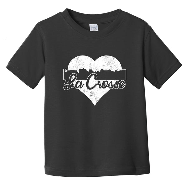 Retro La Crosse Wisconsin Skyline Heart Distressed Infant Toddler T-Shirt