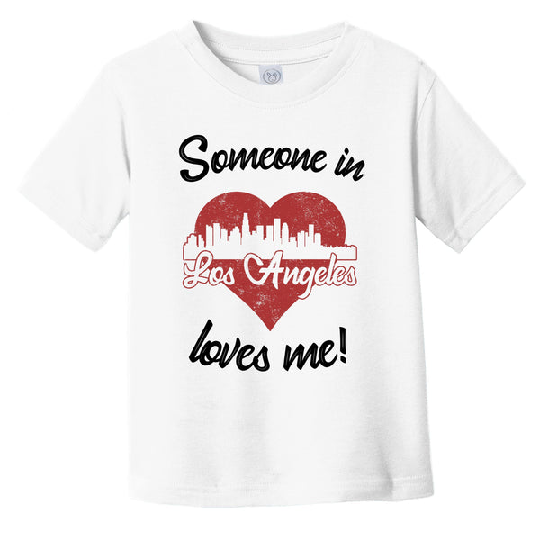Someone In Los Angeles Loves Me Red Heart Skyline Infant Toddler T-Shirt