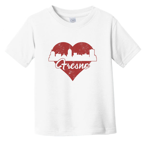 Retro Fresno California Skyline Red Heart Infant Toddler T-Shirt