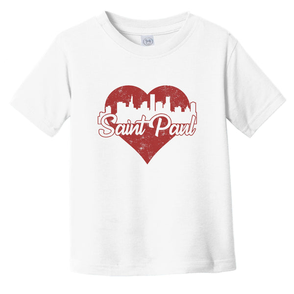 Retro Saint Paul Minnesota Skyline Red Heart Infant Toddler T-Shirt