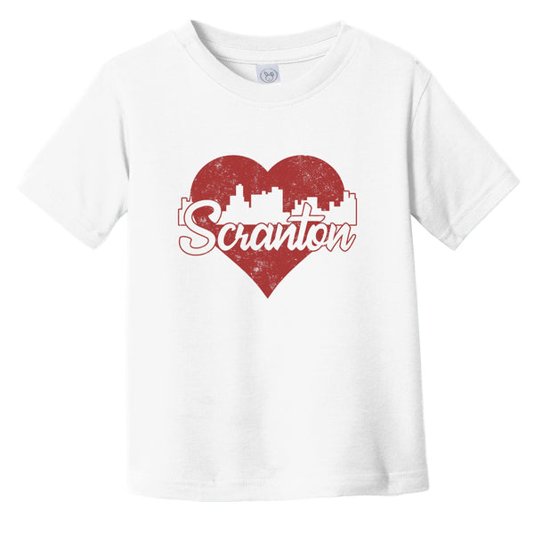 Retro Scranton Pennsylvania Skyline Red Heart Infant Toddler T-Shirt