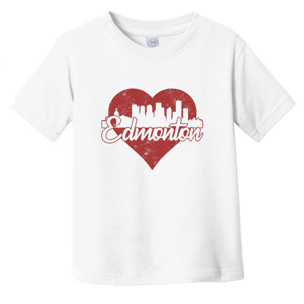 Retro Edmonton Alberta Canada Skyline Red Heart Infant Toddler T-Shirt