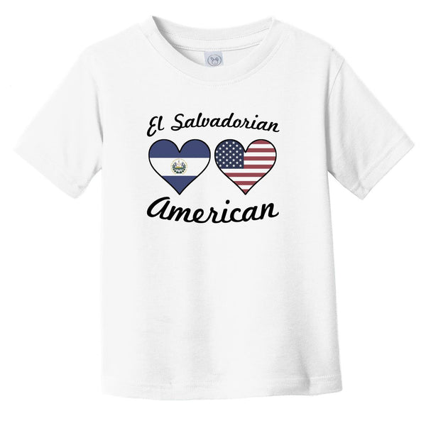 El Salvadorian American Flag Hearts Infant Toddler T-Shirt