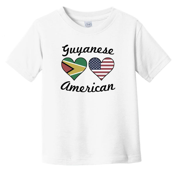 Guyanese American Flag Hearts Infant Toddler T-Shirt