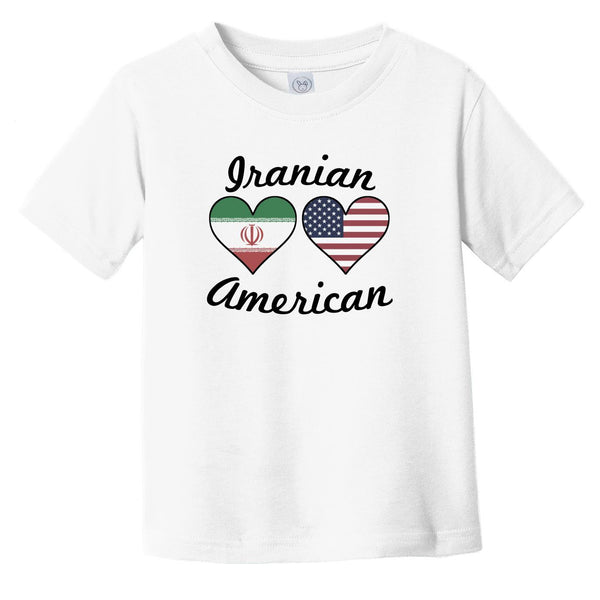 Iranian American Flag Hearts Infant Toddler T-Shirt