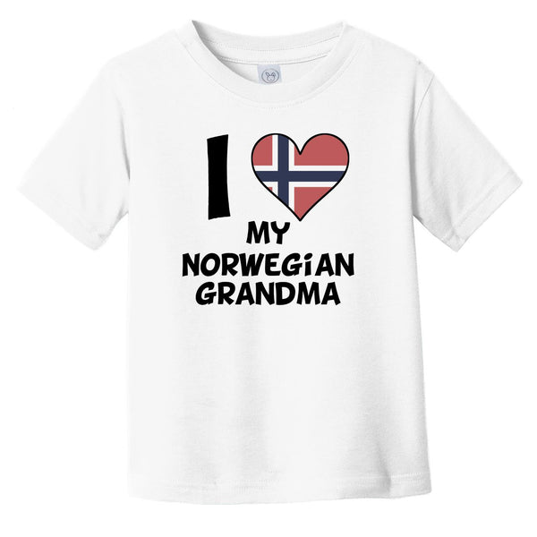 I Heart My Norwegian Grandma Norway Flag Infant Toddler T-Shirt