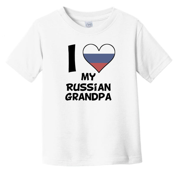I Heart My Russian Grandpa Russia Flag Infant Toddler T-Shirt