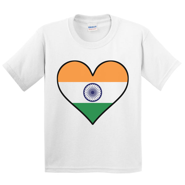 Indian Flag T-Shirt - Cute Indian Flag Heart - India Kids Youth Shirt