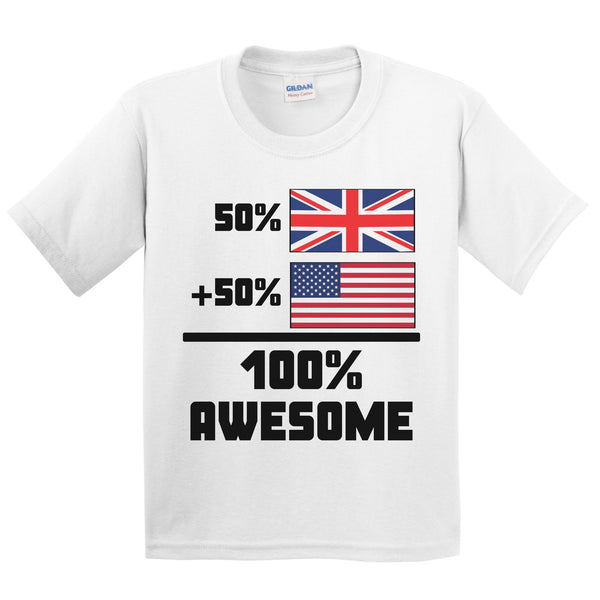 50% British 50% American 100% Awesome Funny Flag Kids Youth T-Shirt