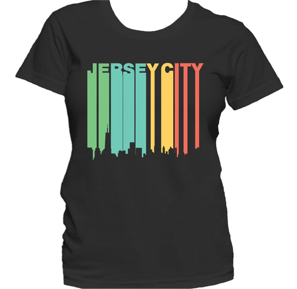 Retro 1970's Style Jersey City New Jersey Skyline Women's T-Shirt