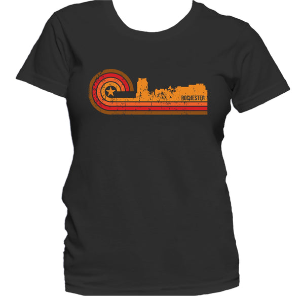 Retro Style Rochester Minnesota Skyline Distressed Women's T-Shirt
