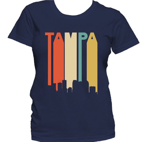 Retro 1970's Style Tampa Florida Cityscape Downtown Skyline Women's T-Shirt