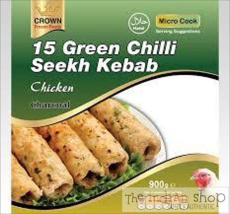 Crown Green Chilli Lamb Seekh Kebab - 900 g - Frozen Non Vegetarian Food