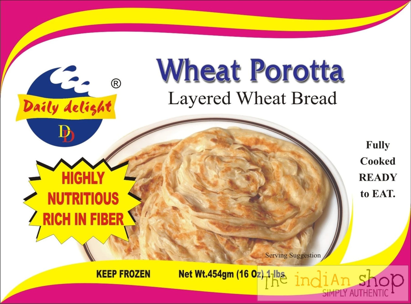 Daily Delight Wheat Porotta - 400 g - Frozen Indian Breads