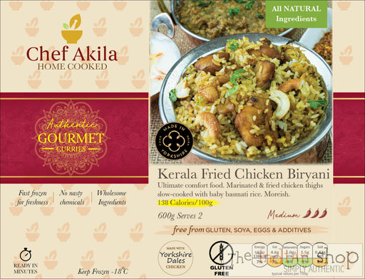 Chef Akila Kerala Fried Chicken Biryani - 550 g - Frozen Curries