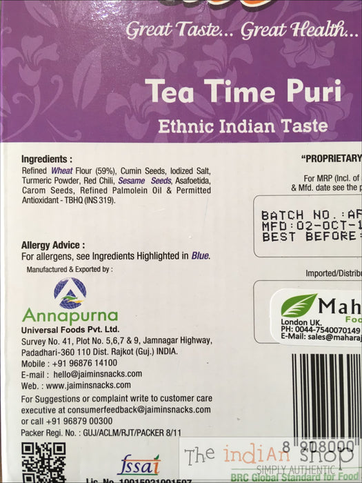 Jaimin Tea time puri