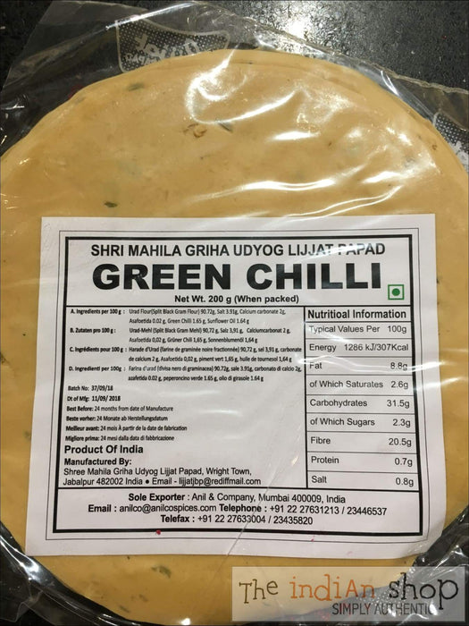 Lijjat Green Chilli Papad - Appallams