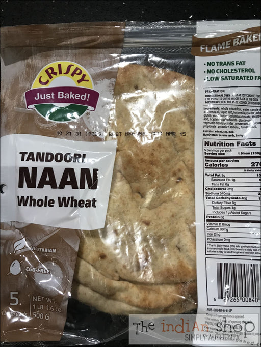 Crispy Tandoori Naan (Whole Wheat) - Non Frozen Chapathis/Rotis