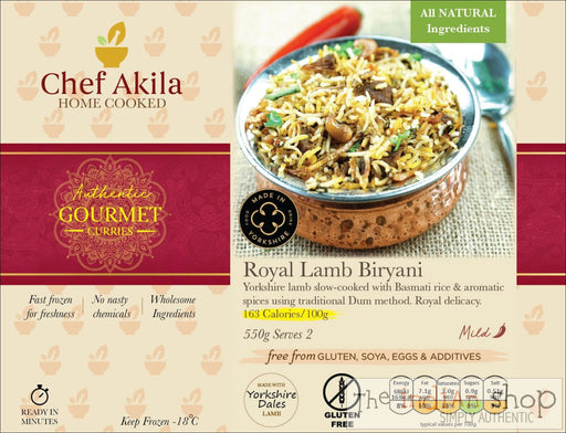 Chef Akila Royal Lamb Biryani - 550 g - Frozen Curries
