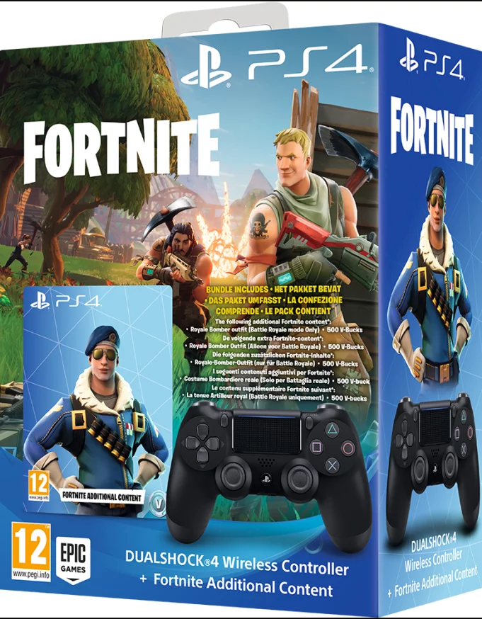 Dualshock 4 Black + Fortnite DLC (PS4) - GameIN
