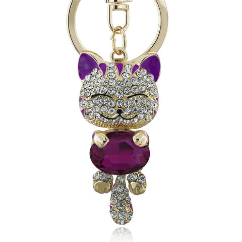 Lucky Smile Crystal Cat Key Chain - Offer