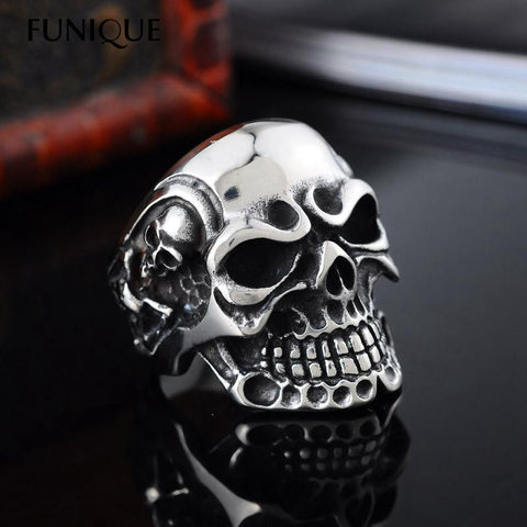 FUNIQUE 2016 New 1PC Viking Skeleton Skull Ring Stainless Steel Biker Ring Men Finger Size 8-11 Punk Rock Jewelry Big Tripple
