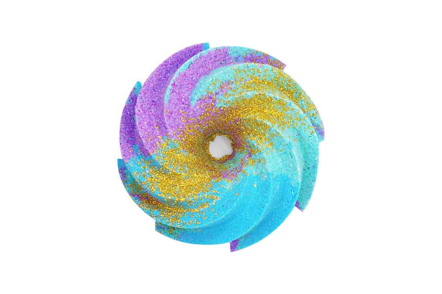 Purple, blue and aqua swirl shaped bath bomb with gold bioglitter on top.