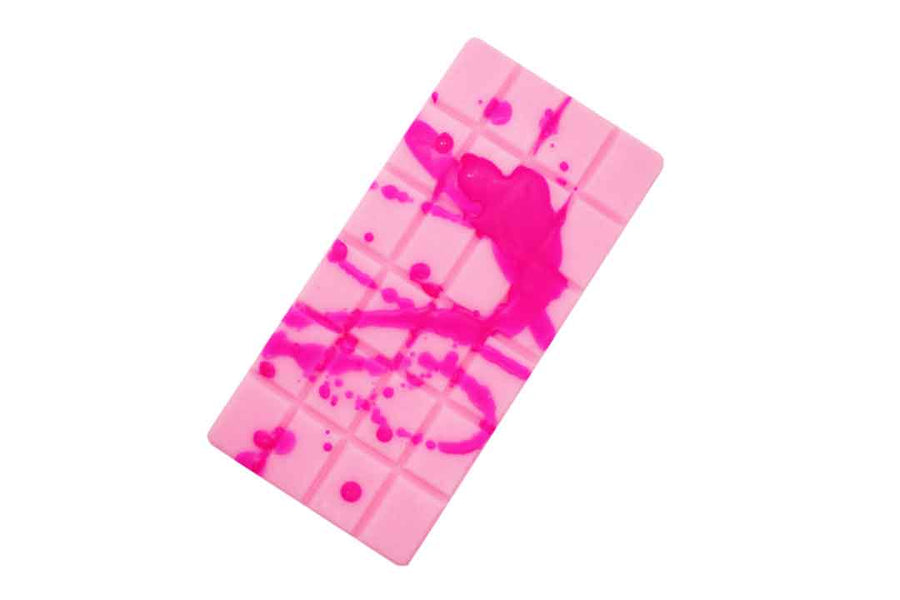 Pink chocolate block shaped soy wax melt with darker pink drizzle on top.