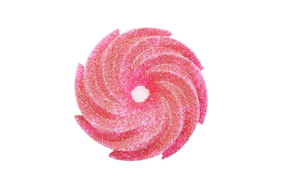 Pink swirl shaped bath bomb with rose gold coloured bioglitter on top.