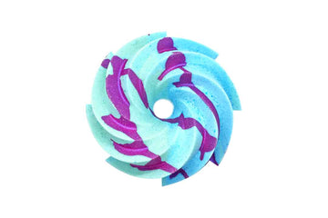 Aqua and blue swirl shaped bath bomb with punk crumble on top.