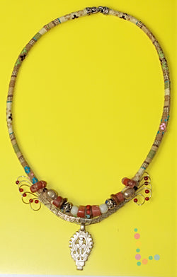 African Tribal Beads Wire Weave Necklace