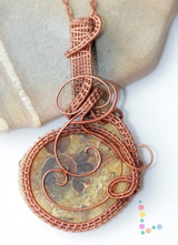 Copper Wire Weave Ammonite Fossil Pendant