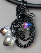 Wire Weave Crystal Pendant Necklace