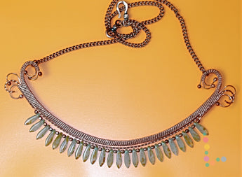 Copper Wire Weave Glass Necklace
