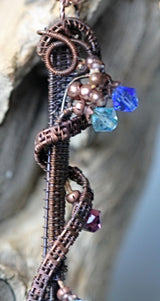 Copper Wire Wrap Glass Multi Crystals Pendant