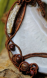 Copper Wire Wrap Agate Stone Pendant
