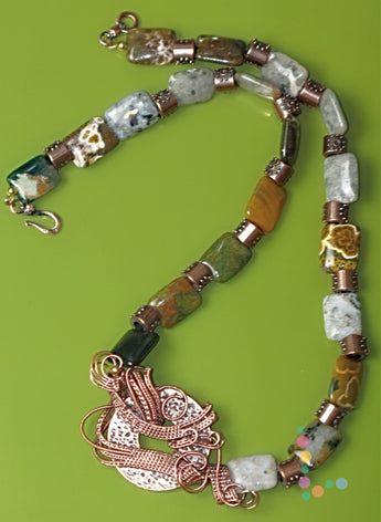 Ocean Jasper Wire Weave Necklace