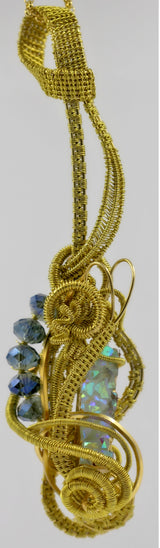 Gold Wire Weave Blue Druzy Crystal Pendant