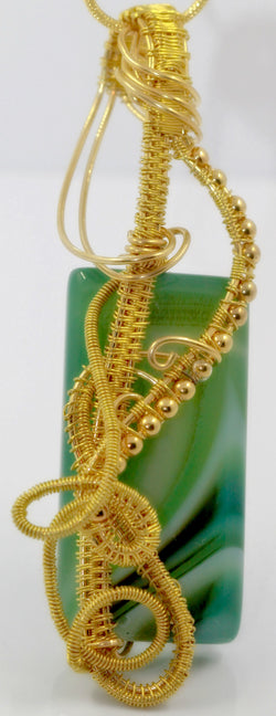 Gold Wire Weave Green Striped Agate Pendant