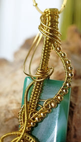 Golden Wire Wrap Green Striped Agate Pendant