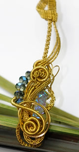 Golden Wire Wrap Blue Druzy Crystal Pendant