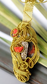 Golden Wire Wrap with Jasper Coral Agate MOP Pendant