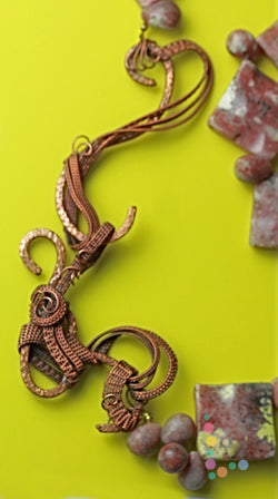 Lepidolite Copper Wire Weave Necklace