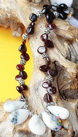 Garnet Tree Agate Sterling Silver Necklace