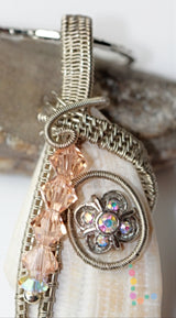 Silver Wire Weave Shell and Crystals Pendant